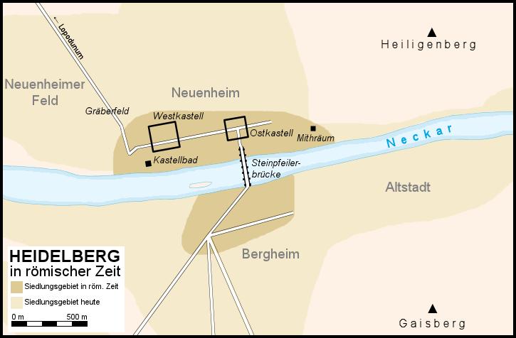 Karte Heidelbergs in römischer Zeit